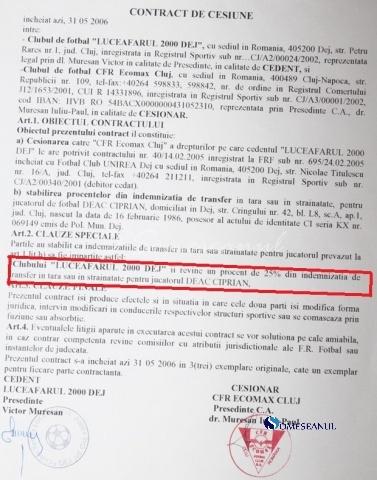 contract cesiune ciprian deac luceafarul dej cfr cluj