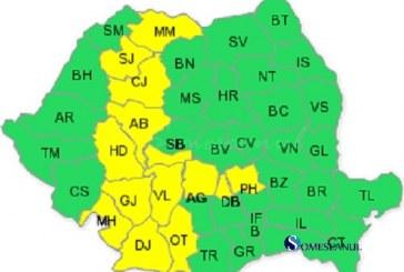 Cod galben de ploi în Cluj, Sălaj și Maramureș