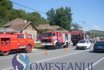 Camion in flacari intre Turda si Cluj
