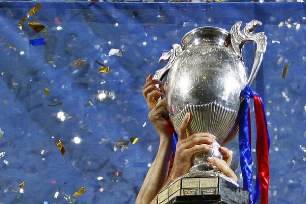 Steaua Bucharest's players celebrate with the trophy after winning their Romanian Cup final soccer match against Dinamo Bucharest in Brasov