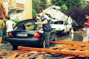 Autoturisme distruse, acoperişuri smulse de vânt şi copaci doborâţi la pământ