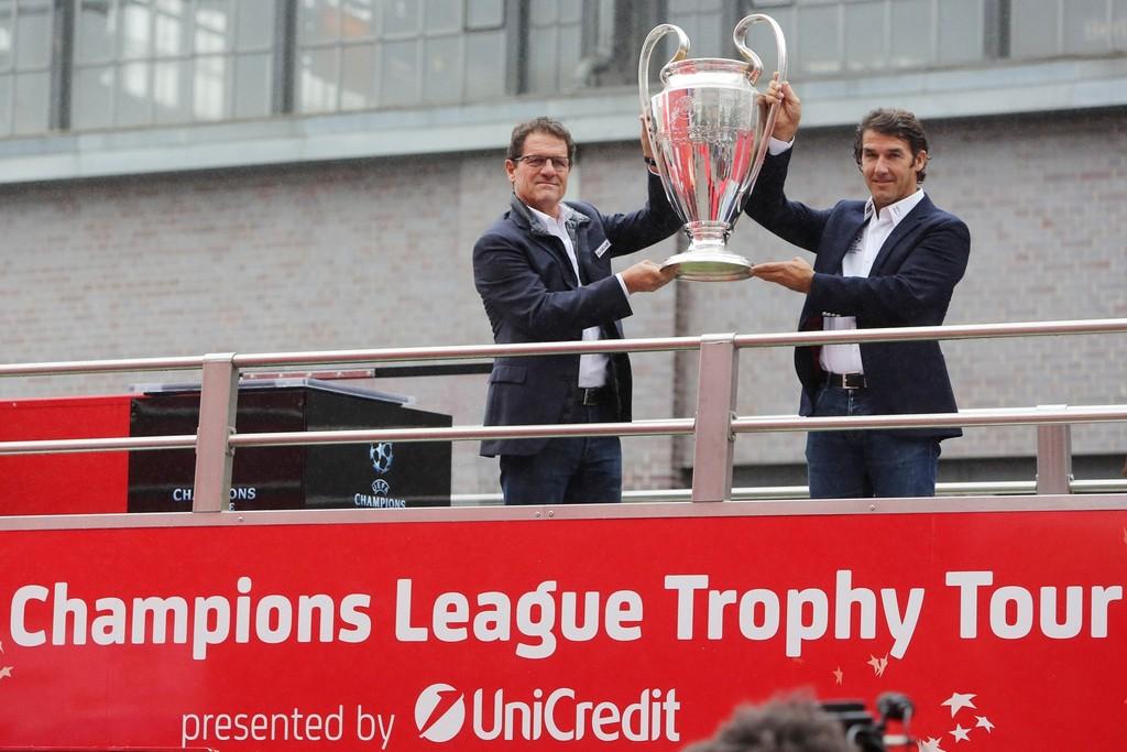 Karl-Heinz Riedle UEFA Trophy Tour Ambassador and Fabio Capello Official UniCredit Ambassador UEFA Champions League