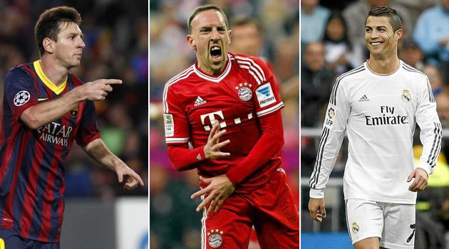 Cristiano Ronaldo, Lionel Messi şi Franck Ribery