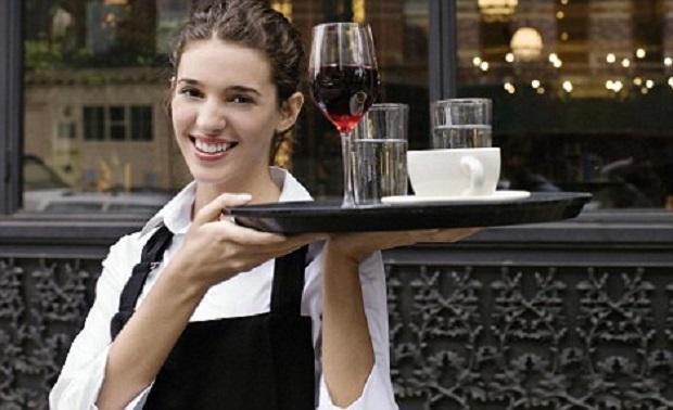 Waitress Carrying Tray