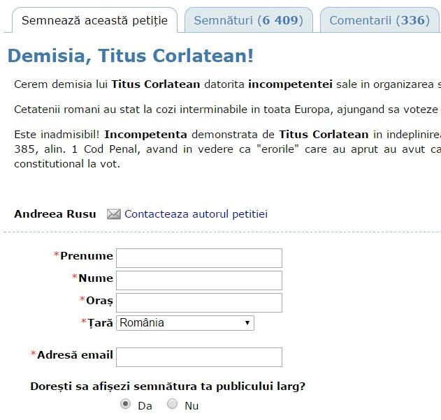 petitie demisie titus corlatean