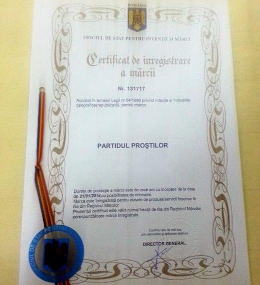 Certificat OSIM partidul prostilor