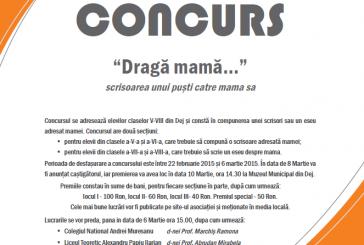 """""""Dragă mamă…"""" scrisoarea unui puști către mama sa – Concurs pentru elevii dejeni"""