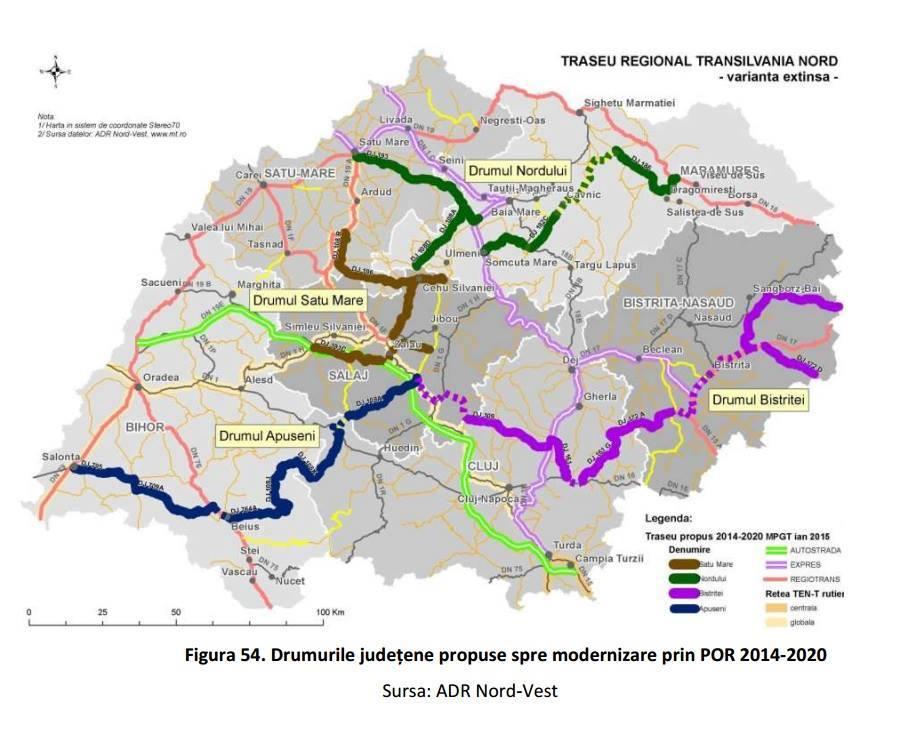Drumul judetean de la Colibita, cel de peste Stramba si de pe Valea Ilvelor, incluse in proiectul strategic de transport Transilvania Nord