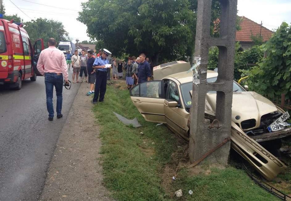 accident masina stalp Hideaga