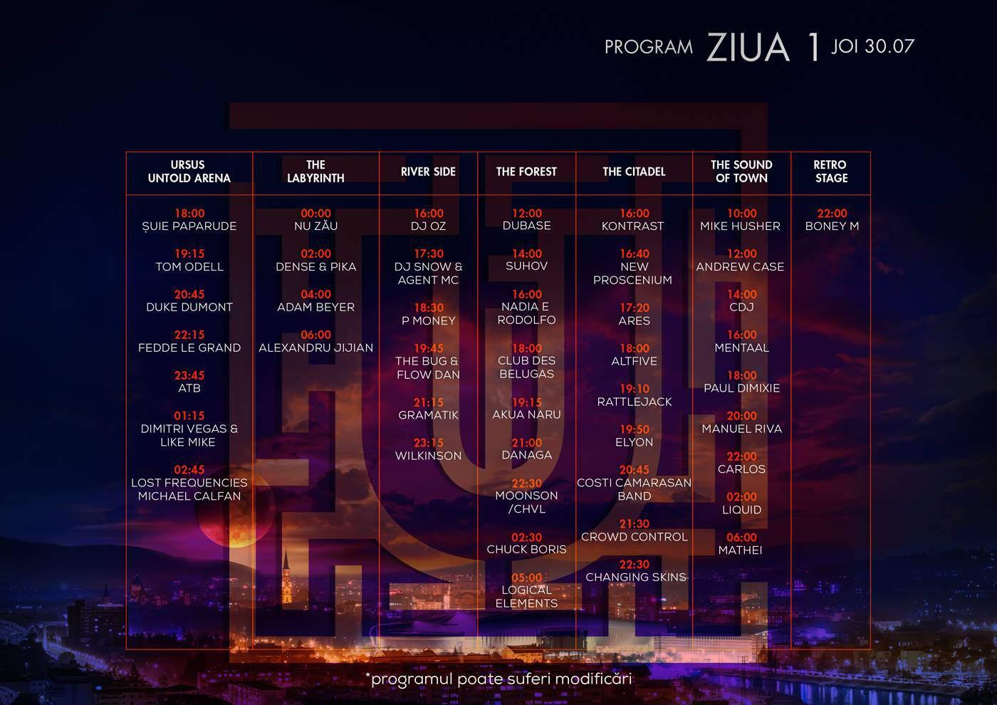 program untold festival - ziua 1 joi