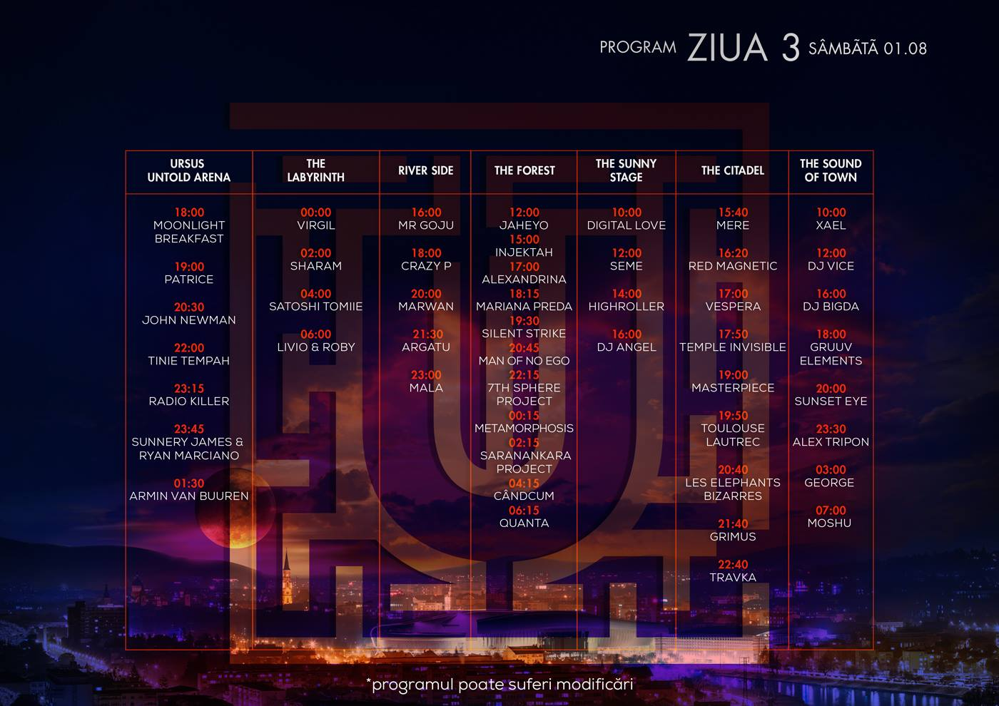 program untold festival - ziua 3 sambata