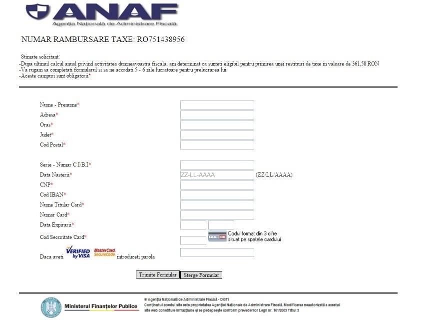 site ANAF fals