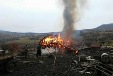 FOTO – Peste 50 de animale au ars de vii într-un incendiu la o gospodărie din Bistrița