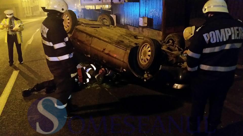 someseanul-accident sofer beat dej masina rasturnata cluj (1)