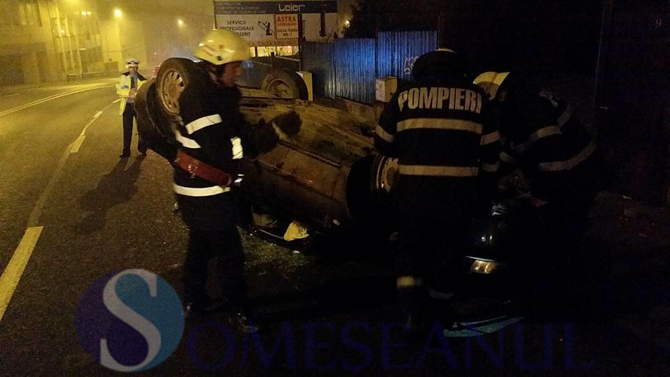 someseanul-accident sofer beat dej masina rasturnata cluj (2)