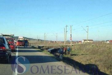 Ultima oră: Accident la Jucu. O mașină a ieșit în decor – FOTO