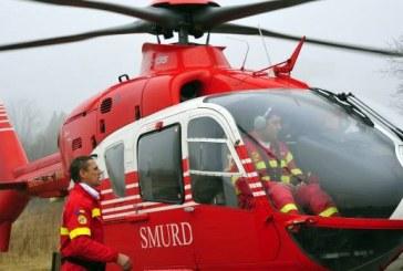 Accident grav în pădure. Preluat cu elicopterul SMURD după ce a fost lovit în cap de un lemn