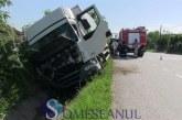 Accident pe DN 1C, la Livada. Un camion a ajuns în șanț – FOTO/VIDEO