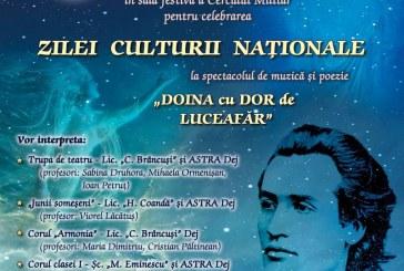 """Spectacol de muzică și poezie """"Doina cu dor de Luceafăr"""" în cinstea Zilei Culturii Naționale"""