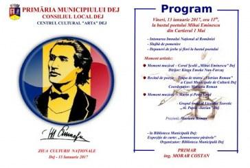 Ziua Mihai Eminescu și Ziua Culturii Naționale, sărbătorite vineri la Dej