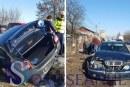 FOTO – Accident la ieșire din Dej, Logan proiectat în sanț