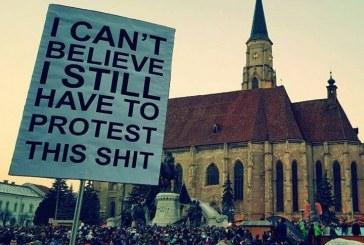 Zona centrală a Clujului, sufocată de protestatari – Imagini LIVE