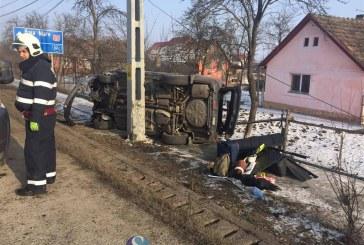 Accident pe DN 1C, la Iclod. O familie din Maramureș s-a răsturnat cu mașina – FOTO/VIDEO