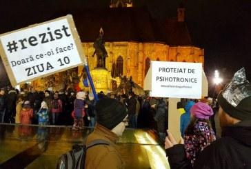 A zecea zi de proteste la Cluj, chiar și după demisia ministrului Justiției – VIDEO