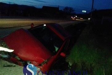 Accident la Bunești. Un șofer băut din localitate s-a izbit de un cap de pod – FOTO