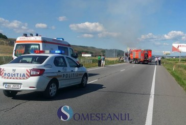 Grav accident la Apahida. Trei autoturisme implicate, un microbuz a ars complet – FOTO