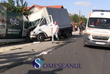 Grav accident la Livada. Două autoutilitare s-au ciocnit frontal – VIDEO CAMERE SUPRAVEGHERE