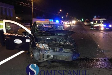 Grav accident la intrare în Gherla, între un autocar și un taxi – FOTO/VIDEO