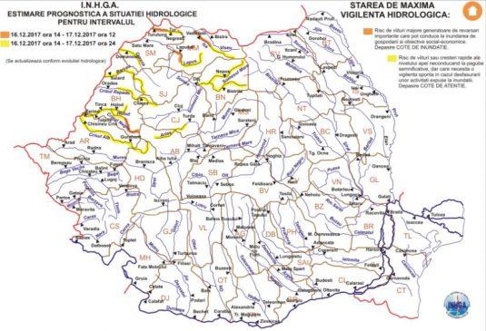harta avertizare hidrologica nr.45 din 16.12.2017
