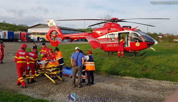 biciclist accidentat Bata elicopter SMURD