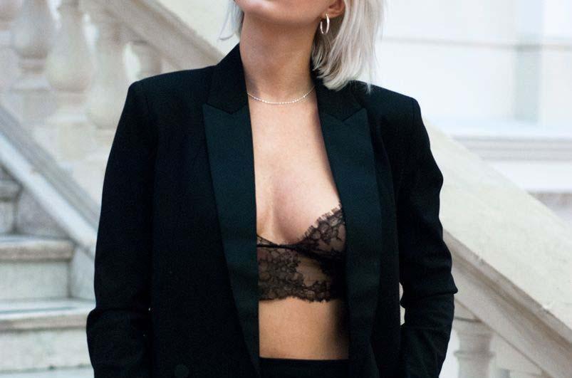 sutien negru dantela femeie